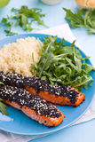 Grilled salmon. With sesame crust and some fresh arugula Stock Photos