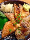 Grilled salmon and shells with rice japan Royalty Free Stock Photo