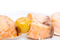 Grilled salmon shish kebab on skewer. Royalty Free Stock Photos