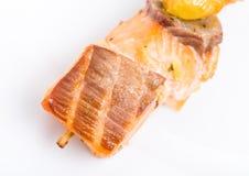Grilled salmon shish kebab on skewer. Royalty Free Stock Image