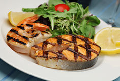 Grilled salmon with shrimps Royalty Free Stock Photo