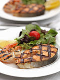 Grilled salmon with shrimps Royalty Free Stock Photos