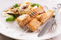 Grilled Salmon Skewer Royalty Free Stock Photo