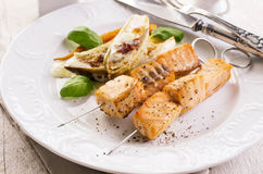 Grilled Salmon Skewer Royalty Free Stock Photography