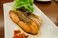 Grilled Salmon with Soy Sauce. Grilled Salmon with Soy Sauce has ready to served Royalty Free Stock Images
