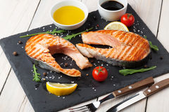 Grilled salmon and spices Stock Photos