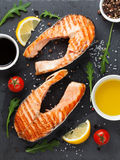 Grilled salmon and spices Royalty Free Stock Photos