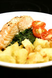 Grilled salmon with spinach. Close up of grilled salmon with spinach and roast potatoes with cherry tomatoes against black background Stock Image
