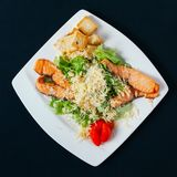 Grilled salmon with spinach and seasonal vegetables salad on white plate, black background royalty free stock photos