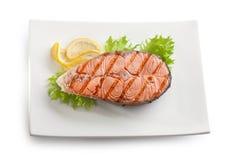 Grilled salmon stake Royalty Free Stock Photo