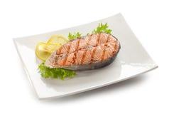 Grilled salmon stake Royalty Free Stock Image
