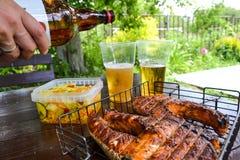 grilled salmon steak Δύο γυαλιά με την μπύρα Σαλάτα λάχανων Πικ-νίκ στη φύση στοκ εικόνα