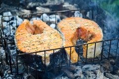 grilled salmon steak Σχάρα, άνθρακες, καπνός στοκ φωτογραφία με δικαίωμα ελεύθερης χρήσης