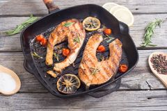 Free Grilled Salmon Steak Stock Images - 100143034
