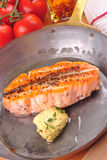 Grilled salmon steak Stock Photos