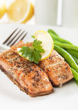 Grilled salmon steak. With lemon and herbs Stock Photography