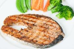 grilled salmon steak Στοκ Εικόνα