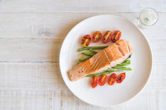 grilled salmon steak στοκ εικόνες