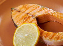 Grilled salmon steak Royalty Free Stock Photography