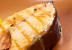 Grilled salmon steak Royalty Free Stock Photo