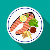 Grilled Salmon steak with french fries. Grilled Salmon steak with lemon,green herb,french fries,salad  and ketchup on white dish in flat icon style Stock Photos
