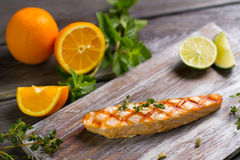 Grilled salmon steak. Royalty Free Stock Images