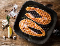Grilled salmon steak Stock Images