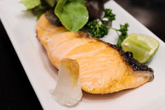 Grilled salmon steak japanse style Royalty Free Stock Images