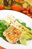 Grilled salmon steak with leaf lettuce Stock Photos