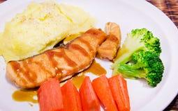 Grilled salmon steak. Royalty Free Stock Image