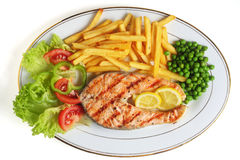 Grilled salmon steak meal Stock Photos
