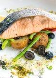 Grilled salmon steak pesto Stock Photo