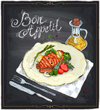 Grilled salmon steak on a plate hand drawn illustration on a chalkboard. Grilled salmon steak on a plate with lime, cherry tomatoes and broccoli served with Royalty Free Stock Images