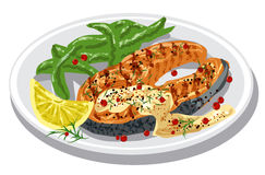 Grilled salmon steak. On plate with sauce, condiments and lemon Stock Images