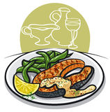 Grilled salmon steak. On plate with sauce, spinach, condiments, wine and lemon Royalty Free Stock Photo