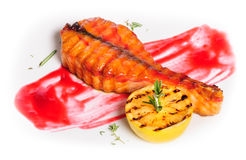Grilled salmon steak Royalty Free Stock Photos
