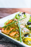 Grilled salmon steak. With salad Royalty Free Stock Image