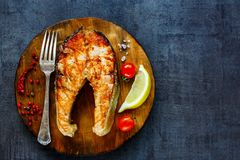 Grilled salmon steak royalty free stock image