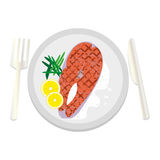 Grilled salmon steak with sauce on a white plate with appliances Royalty Free Stock Image
