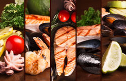 Grilled salmon steak and seafood Royalty Free Stock Photo