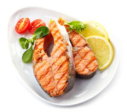 Grilled salmon steak slices royalty free stock images