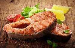 Grilled salmon steak slices Royalty Free Stock Photography