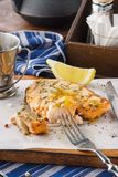 Grilled salmon steak with spices, lemon and honey mustard sauce stock image