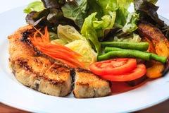 Grilled salmon steak Stock Photos