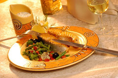 Grilled salmon steak with vegetables Stock Photos