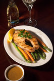 Grilled Salmon Steak and Vegetables Stock Photos