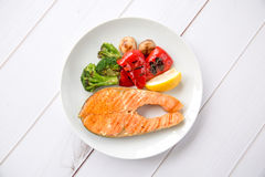 Grilled salmon. Steak and vegetables Royalty Free Stock Image