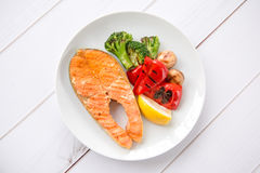 Grilled salmon. Steak and vegetables Stock Photos