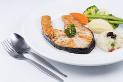 Grilled Salmon steak with Vegetables Stock Photography