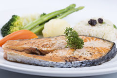 Grilled Salmon steak with Vegetables Stock Photo